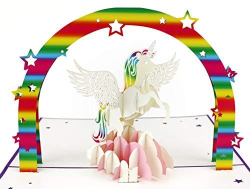 3D Geburtstagskarte, Einhorn mit Regenbogen - 5