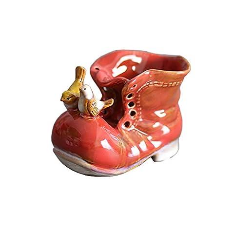 Color Glaze High Temperature Ceramics Decoration A Boots Decoration Crafts Rural Porcelain Storage Decoration (Red)