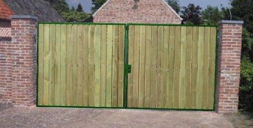 Hochwertiges 2-flügeliges Holztor / Rahmen Grün beschichtet / Einbau-Höhe: 180 cm / Einbau-Breite: 600 cm / Gartentor Doppeltor