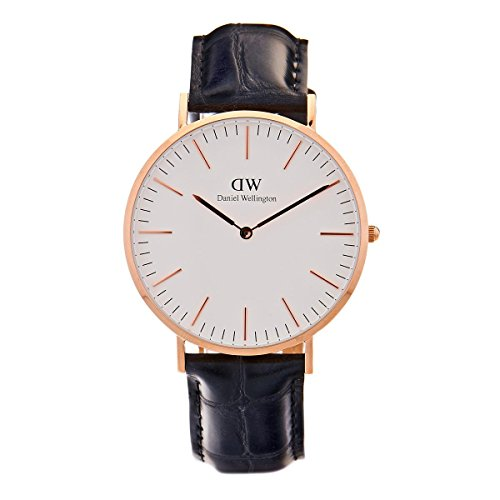 Daniel Wellington Classic Men Quartz Watch with Analog Display and Black Leather Strap - DW00100014