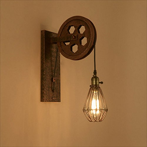 Applique murale poulie industrielle vent rétro American personnalité créatrice mur lampe Edison ampoule café escalier en fer forgé applique murale décorative (Design : B)