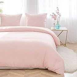 AYSW Sets de Housses de Couettes 220x240cm + 2taies d'oreillers 65x65cm Rose Parure de lit pour 2 Personnes