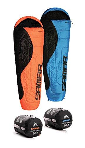 METEOR ® Premium Mumienschlafsack mit Reißverschluss Indoor und Outdoor Camping Schlafsack für Erwachsene und Kinder Leichter Sommer- und Winterschlafsack Kompressionspacksack (orange / schwarz R, SAMAR)