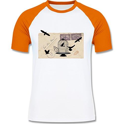 Eulen, Füchse & Co. - Alter Brief Vogelkäfig - zweifarbiges Baseballshirt für Männer Weiß/Orange