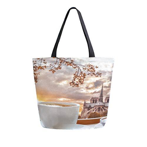 Reopx Große schöne notre dame de paris tragbare doppelseitige lässig leinwand einkaufstaschen handtasche schulter wiederverwendbare einkaufstaschentasche frauen männer lebensmittelgeschäft (Paris-brot-box)