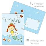 emufarm 10 EINLADUNGEN zum Kindergeburtstag MEERJUNGFRAU inklusive 10 passende Umschläge / Einladungskarten für Mädchen zum Geburtstag / Geburtstagsparty Meerjungfrau