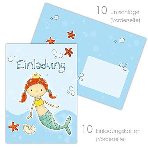 EN zum Kindergeburtstag MEERJUNGFRAU inklusive 10 passende Umschläge / Einladungskarten für Mädchen zum Geburtstag / Geburtstagsparty Meerjungfrau ()