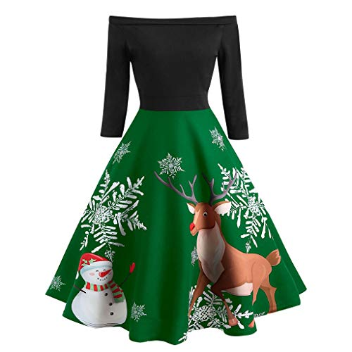 Sunday Weihnachten Kleider Schulterfreies Abendkleider Elegant Partykleid 3/4 Ärmel Rockabilly Kleid Cocktailkleid Swing Kleid Knielang Winterkleid Festlich Kleid Ballkleid