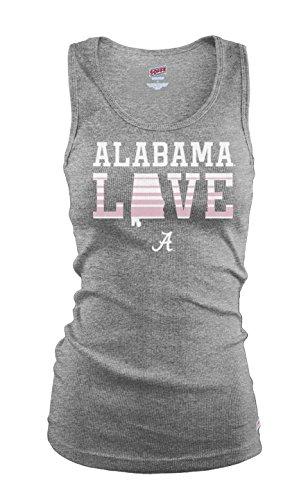Soffe NCAA Alabama Crimson Tide Junior Classic College Logo gerippt Tank Top, damen, Oxford Heather (Damen Lange Ribbed Knit Tank)