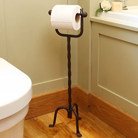 Wrought Iron Period Style Twist Free Standing Toilet Roll Tissue Holder 64cm
