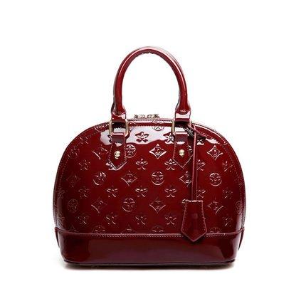 AoBao Ms. pacchetti di trasporto nuovo pacchetto femmina cuoio verniciato lady borsa pacchetto conchiglia piccola borsa donna borse a tracolla (medie :22cm26cm13cm), mini bare di polvere di metallo Alla luce di vino rosso