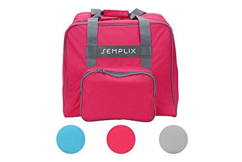 SEMPLIX Overlocktasche - Coverlocktasche, pink, 44x38x33 cm | Große stabile Transport und Aufbewahrungs Tasche XL in vielen frischen Farben, für alle gängigen Overlock und Coverlock Maschinen Overlock-maschine