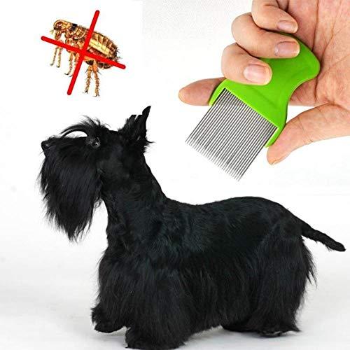 EMOHKCAB Hundekämme Edelstahl Pin Floh Schmutz Staubentferner Hund Katze Pflege Laus Kamm Tierhaar Lange Nadel Kamm, zufällige Farbe, 9X5cm