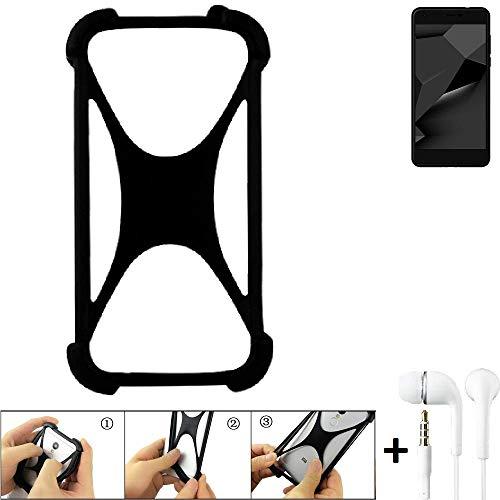K-S-Trade Handyhülle für Blaupunkt SL Plus 02 Schutzhülle Bumper Silikon Schutz Hülle Cover Case Silikoncase Silikonbumper TPU Softcase Smartphone, schwarz (1x), Headphones