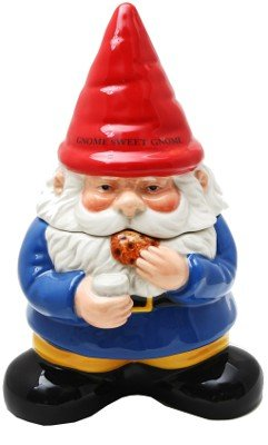 10 Inch Gnome Sweet Gnome Cookie Eating Ceramic Jar Figurine by PTC