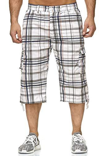 Grau Kariert Shorts (Max Men Herren Cargo Freizeit 3/4 Hose Kariert Shorts mit Seitentaschen H2263, Farben:Grau, Größe Shorts:L)