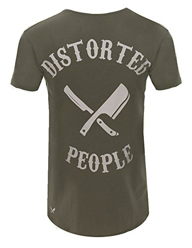 Distorted People Cutted Team T-Shirt Olive Olive