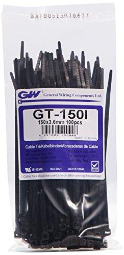 GW Kabelbinder-Technik, Kabelbinder 150 x 3,6 mm, schwarz, 100 Stück, GT-150IBC