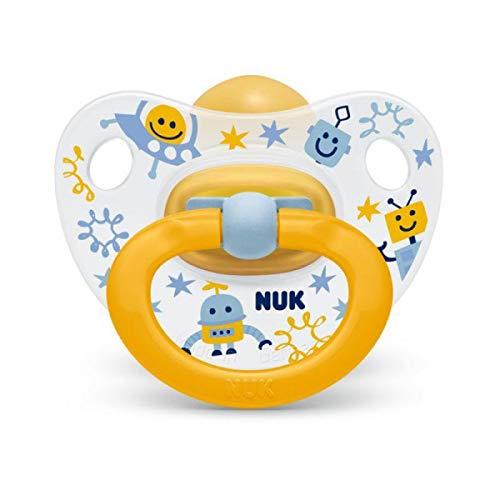 "NUK""HAPPY KIDS"" - 1x Anatomischer Latex Schnuller ORANGE ROBOTER (0-6m)"