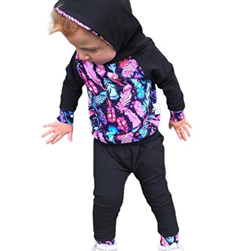 Neugeboren Babykleidung Longra Baby Junge Mädchen Feder Langarmshirts Kapuzenpullover + Hosen Babymode Outfit Kleidung-Set(0-18Monate) (90CM 12Monate, Black)