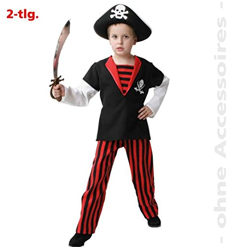 narrenwelt Pirat Royal Pirate Boy 152 Piratenkostüm 2tlg Oberteil + Hose Fasching Kinder-Kostüm (Jake Der Pirat-kostüm)