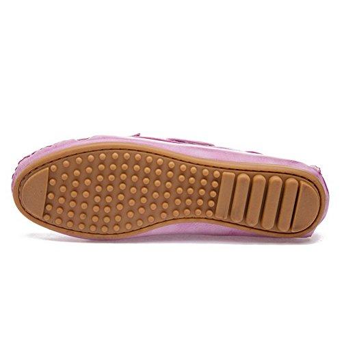 VogueZone009 Femme Rond Tire Microfibre Couleur Unie à Talon Bas Chaussures à Plat Cramoisi