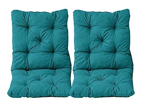 Ambientehome Lot de 2 Coussins pour Fauteuil de jardin HANKO Bleu 98 x 50 x 8 cm 90566