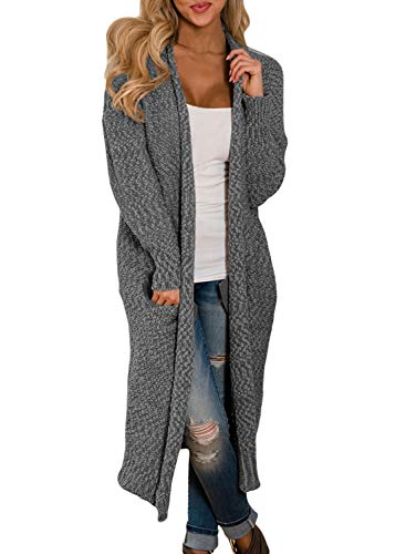 FIYOTE Damen Lang Cardigan Langarmshirt mit Tasche Strickjacke Bluse Tunik ideal für Winter Herbst,...