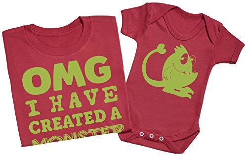 OMG I've Created a Green Monster! - Passende Vater Baby Geschenkset - Herren T-Shirt & Baby Strampler / Baby Body Blau