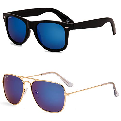 Royal Son Blue Mirrored Wayfarer and Blue Mirrored Square Aviator Women Sunglasses Combo