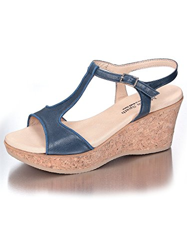 Marion Spath , chaussures compensées femme Bleu - Bleu