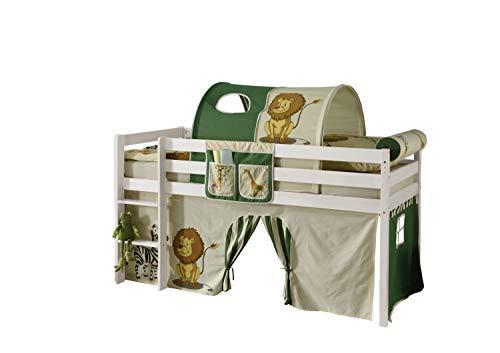 Hochbett Kiefer massiv weiß TÜV EN 747-1 + 747-2 Kinderbett Spielbett Jugendbett Massivbett Kinderzimmer Jugendzimmer Stockbett -