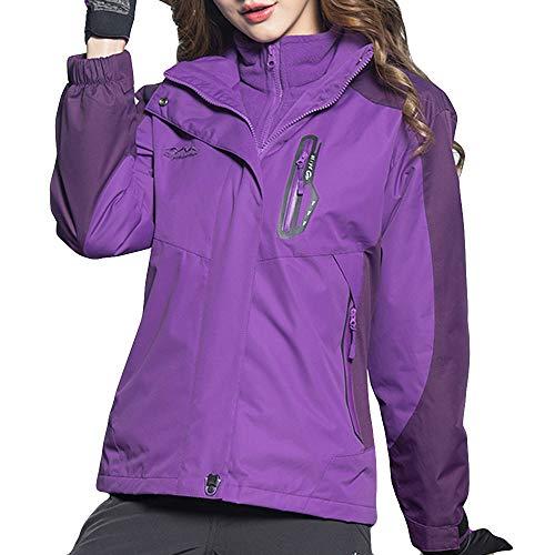 41%2BoYteuQ7L. SS500  - Lazzboy Womens Jacket Coat 3 in 1 Waterproof Detachable Inner Fleece Hooded Zipper Raincoat UK 10-22 Daily Hiking Trekking Mountaineering Oversized Plus Size