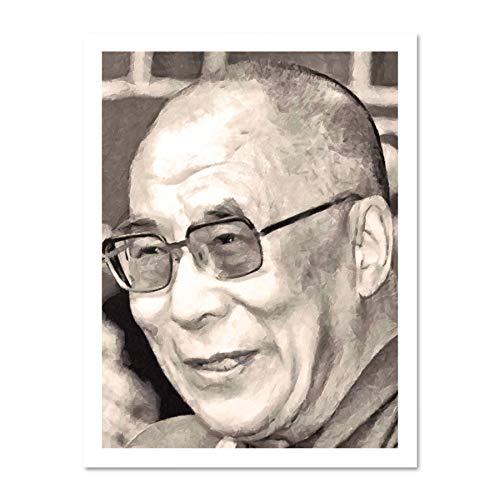 Doppelganger33 LTD Painting Portrait Buddhist Spiritual Leader Dalai Lama Large Framed Art Print Poster Wall Decor 18x24 inch Supplied Ready to Hang