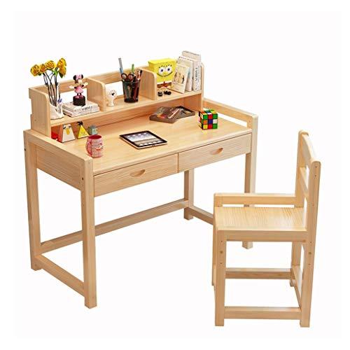 Bureau étudiant en bois massif table et chaise pour enfants pouvant être relevée bureau et chaises pour la maison de tables et chaises (Color : Wood color, Size : 80x50x75cm)