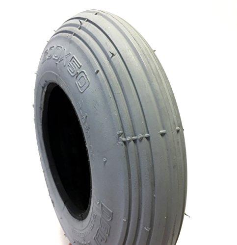 CST Rollstuhlreifen 200 x 50, (auch 8x2), grau, Reifen mit Rillenprofil Leichtlauf, Luftdruck 25 PSI, passend für manuellen Rollstuhl, Top-Qualität