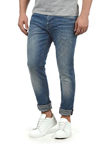 Indicode Aldersgate Herren Jeans-Hose Lange Hose Denim aus hochwertiger Baumwoll-Mischung Destroyed-Optik/Used-Look, Größe:W36/34, Farbe:Blue Wash (1014)