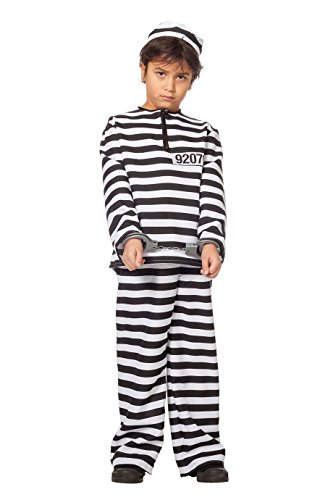 Jannes - Kinder-Kostüm Sträfling, schwarz weiß -