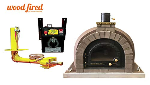 Brown Wood Fired Pizza Oven, Cast Iron Window Door, Grey Arch, Double Insulation, with gas burner, 130cm x 130cm