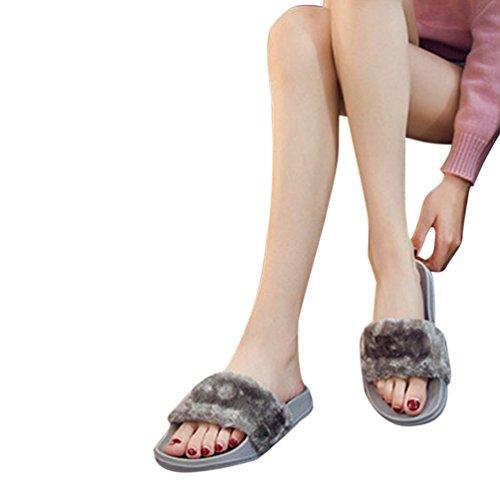 Amlaiworld Donna soffice pelliccia finta pantofola piatta,confortevole e morbido grigio