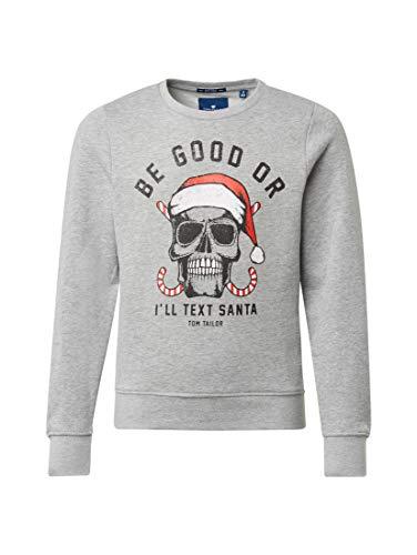 TOM TAILOR für Jungen Strick & Sweatshirts Sweatshirt mit Print Drizzle Melange Gray, 152 -