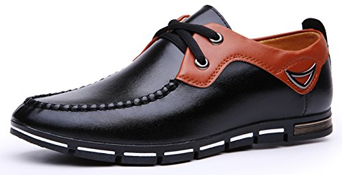 Anlarach Herren Leder Walking-Schuhe Breathable Freizeitschuh Hausschuhe Schwarz Size 43 EU (Slipper Beaded Flats Schuhe)