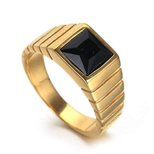 Bishilin Edelstahl Ring Männer Poliert Rechteck Schwarz Zirkonia Vintage Ringe Gold Freundschaftsringe Gr. 65 (20.7) -