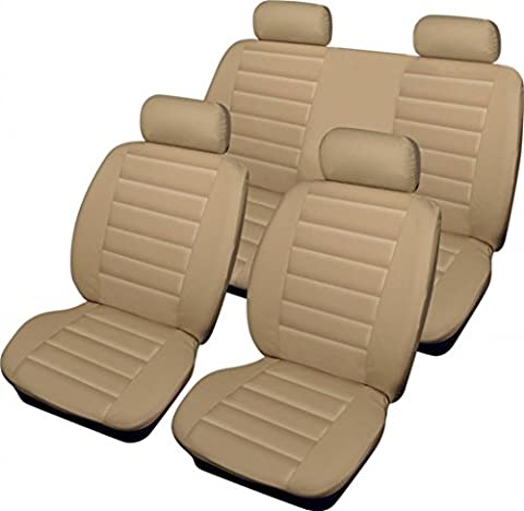 wlw LLook-Beige-Cream-Type6 Leather Look Advanced Airbag Ready Beige/Cream Styling Car Seat Covers