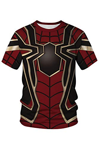 RedJade Herren Damen Anime Cosplay Kostüm Superheld Spider Man Kurzarm T-Shirt