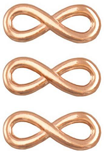 Sadingo Schmuckverbinder Unendlichkeit Roségold vergoldet DQ Metall Anhänger Infinity, 3 Stück, 15x6 mm, Schmuck basteln