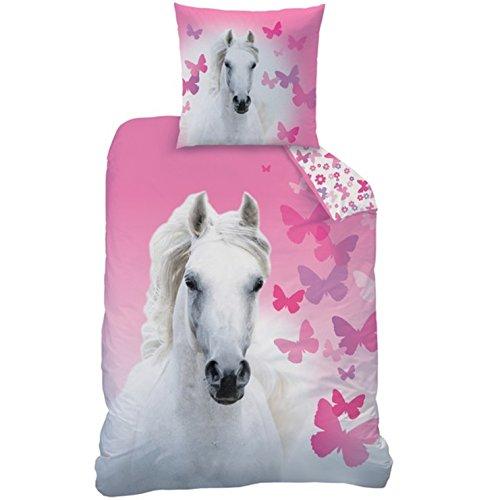 Parure de lit avec housse de couette de 135 x 200 cm et taie d'oreiller de 80 x 80 cm Motif cheval blanc et papillons