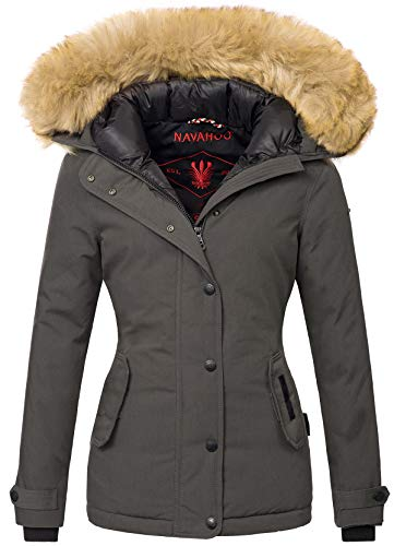 Navahoo warme Damen Winter Jacke Winterjacke Parka Mantel Kunstfell B392 (M, Anthrazit)