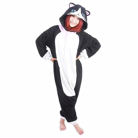 Honeystore Jumpsuit Tier Cartoon Fasnacht Halloween Kostüme Katze Schlafanzug Cosplay Pyjama S (Einfache Katze-kostüme Für Frauen)