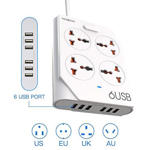 Universal Steckdosenleiste mit USB, MOXOM 6 USB Mehrfachsteckdose mit Schalter, 4 Fach Steckdosenleiste Wandmontage 2500W/10A Verteilersteckdose Überspannungsschutz für zu Hause und im Büro